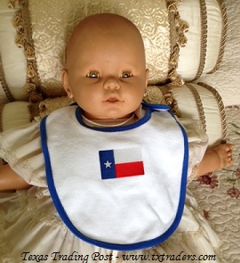Baby Bib Embroidered with the Texas Flag