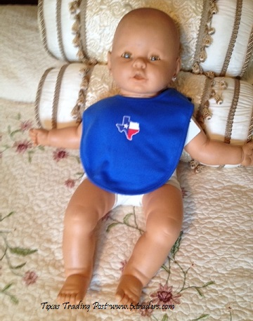 Baby Bib with the Embroidered Map of Texas - Blue