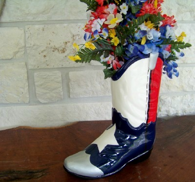Texas Size Texas Flag Boot Planter-Great Texas Decor