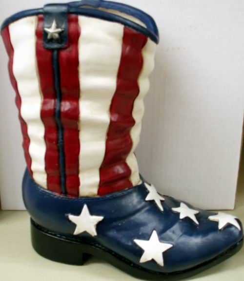 USA Flag Boot Planter