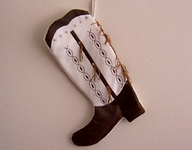 Boot Texas Christmas Stocking in Brown and White with Fringe