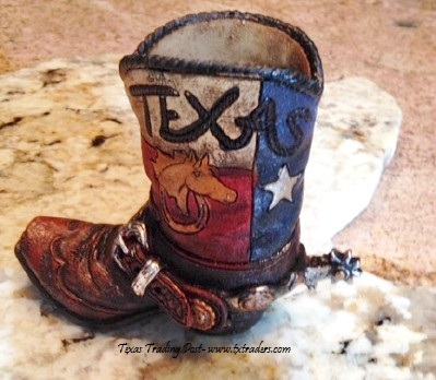 Texas Boot Pen and Pencil Holder with Horse