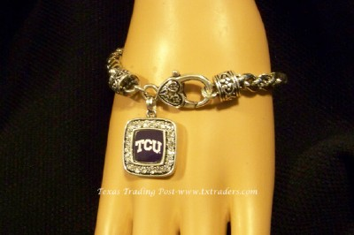 TCU - Blingy Bracelet with TCU Logo and Brighton-Style Clasp