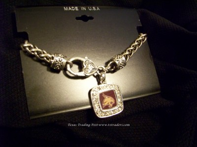 Bobcats-Blingy Bracelet with Texas State Bobcats Mascot