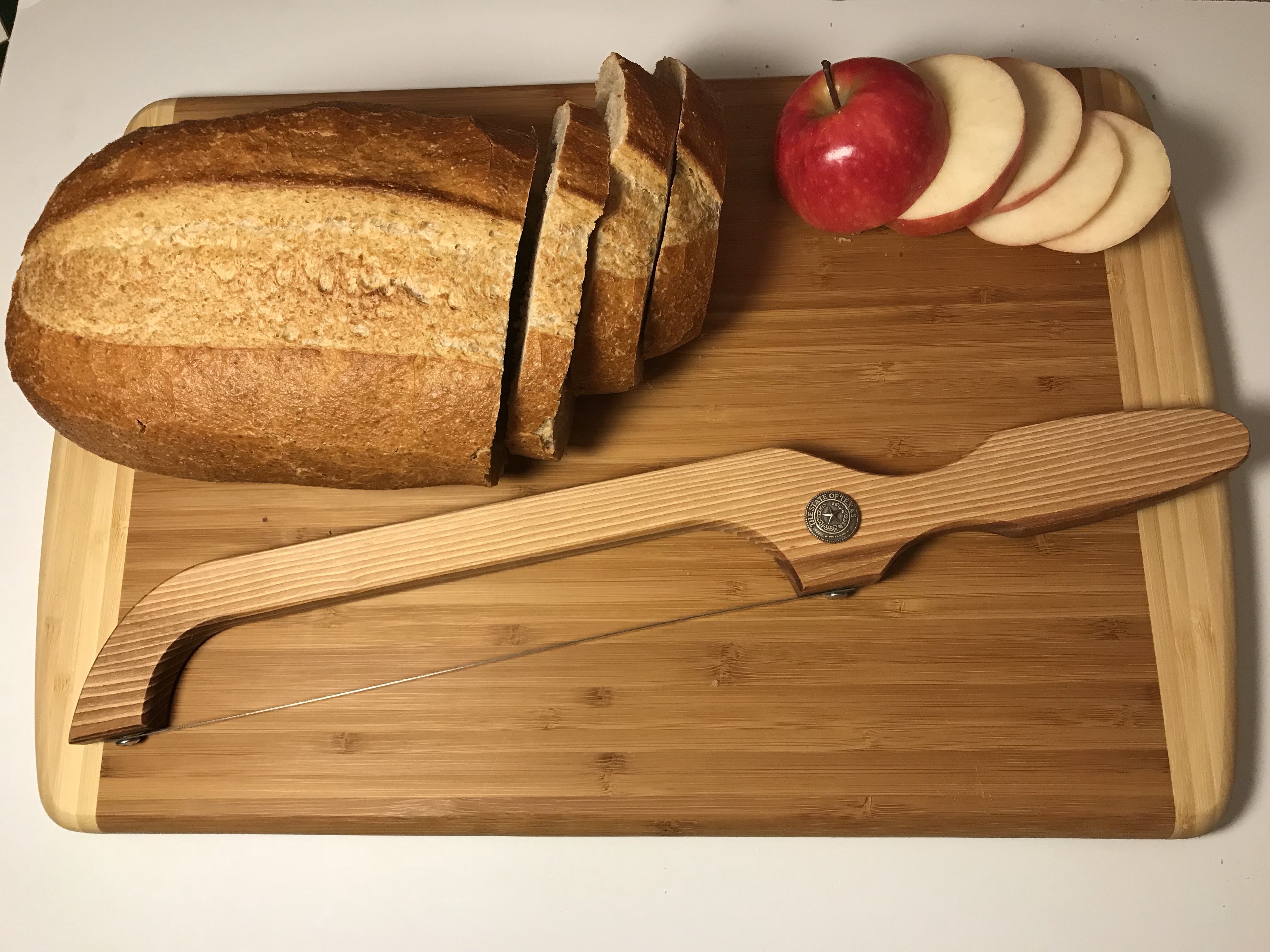 Texas Hand Made Pecan Wood Bread Knife with Texas State Seal Concho