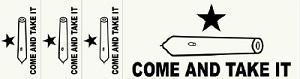 Come and Take It Bumper Sticker + 3 Small Stickers
