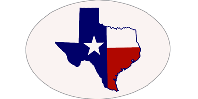 Oval Texas Bumper Sticker with the State of Texas