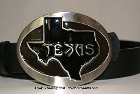 Buckle - Texas Map in Black Belt Buckle