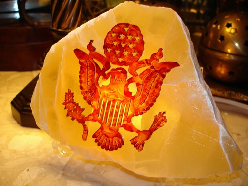 United States Army Emblem on Lighted Calcite
