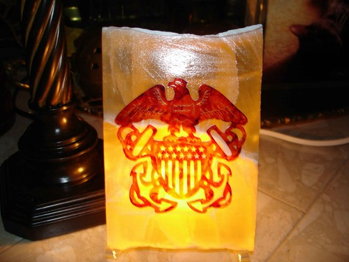 United States Navy Emblem on Lighted Calcite