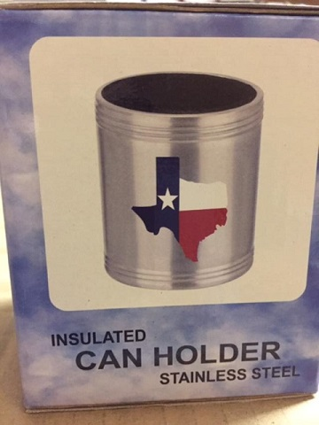 Insulated Can Holder with the Texas Map