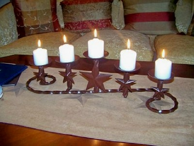 Texas Lone Star Swirly Candle Holder