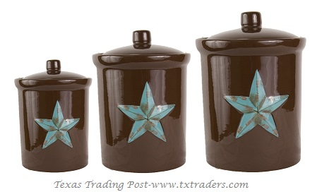 Three Piece Canister Set with our Texas Lone Star
