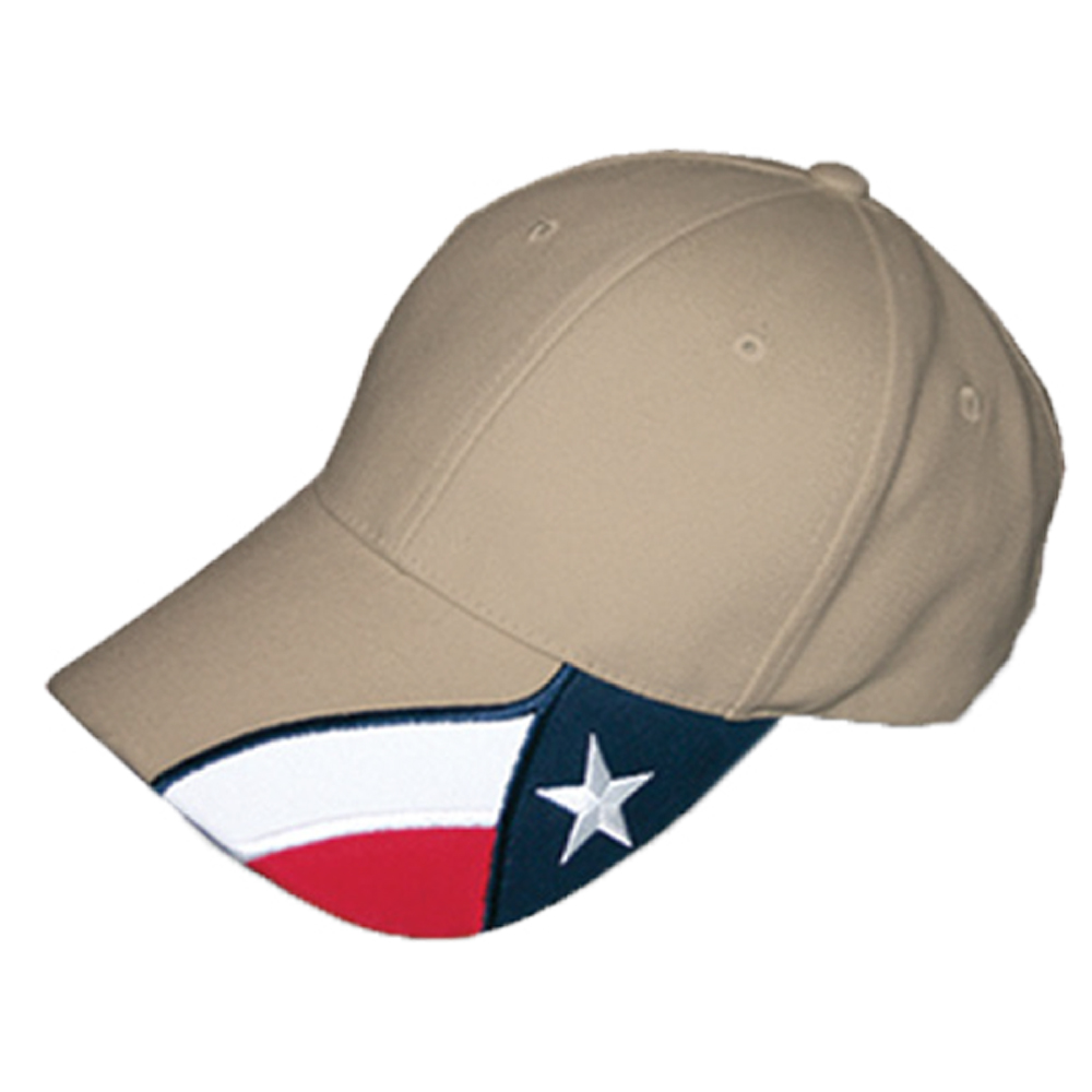 Cap in Khaki with the Texas Flag