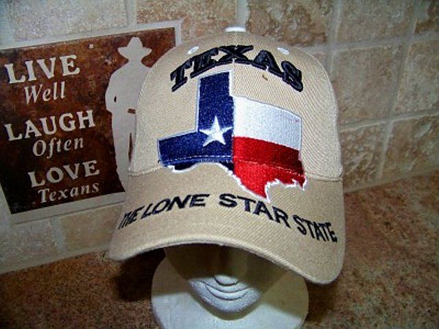 Texas Cap with Map and Lone Star State