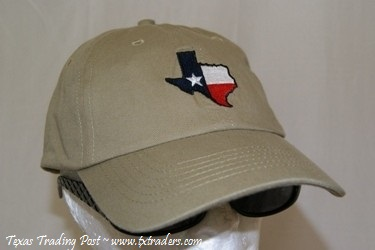 Texas Cap Embroidered with State of Texas-Khaki