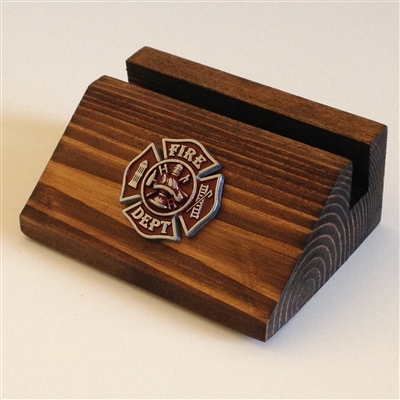Business Card Holder with Firefighter Concho