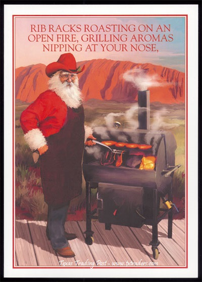 Christmas Cards-Santa BBQing - Texas Christmas Cards