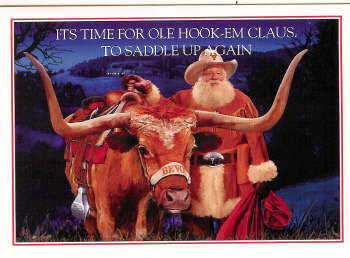 "Christmas Cards-""Hook 'em Claus""- U. T. Texas Christmas Cards"