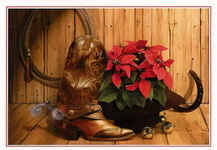 Christmas Cards-Boots and Poinsettias