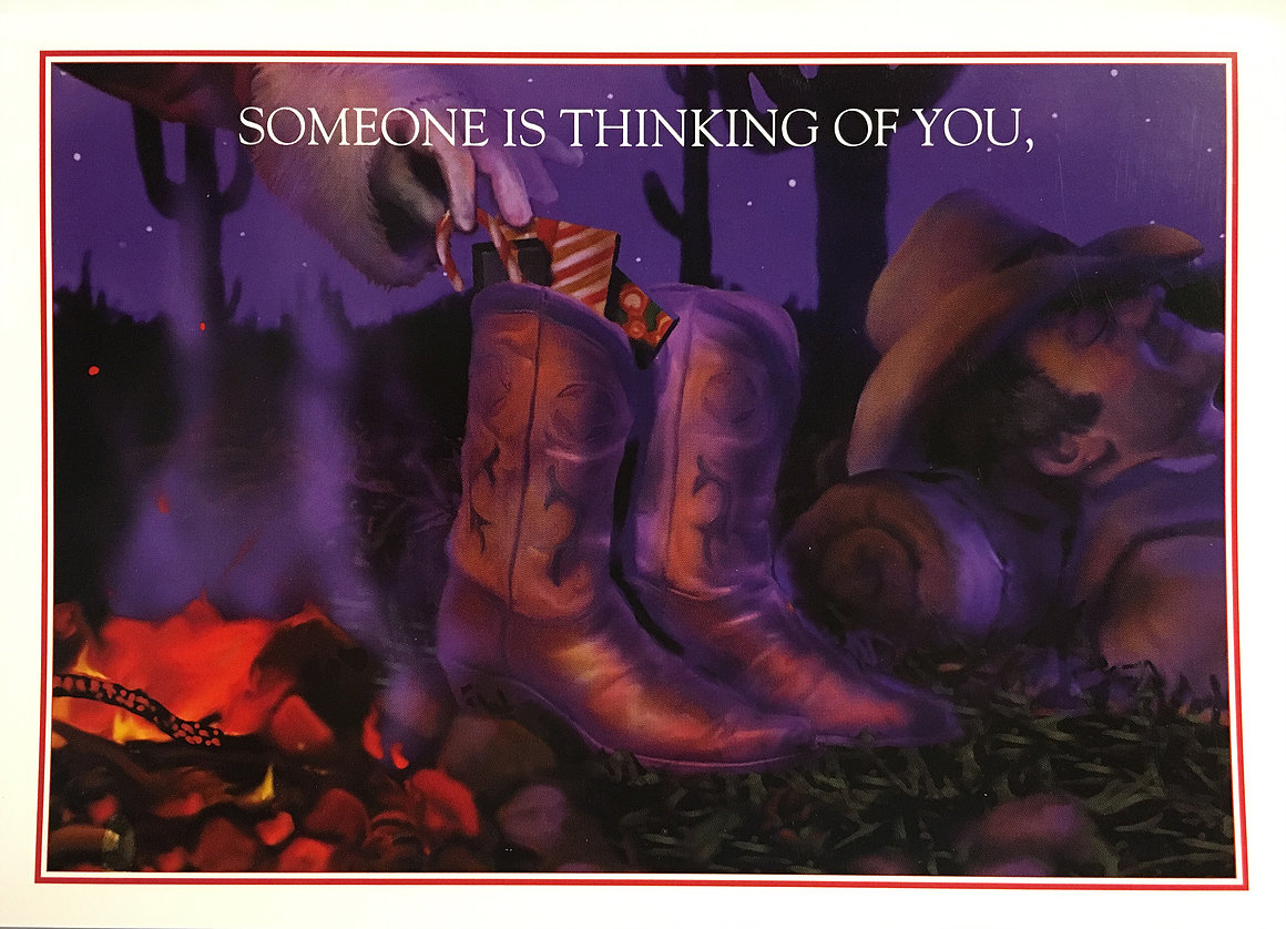Christmas Cards-Cowboy Boots by the Texas Campfire