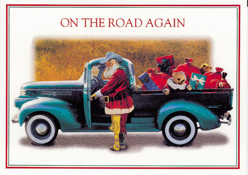 Texas Christmas Cards.Christmas Cards Texas Santa On The Road Again