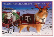 Christmas Cards-Texas A&M Reveille with a Sleigh