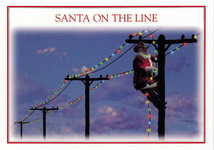 Christmas Cards-Texas Santa On The Line