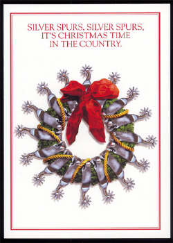 christmas cards wreath with silver spurs texas christmas cards