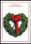 Christmas Cards-Holly Heart Wreath - Texas Christmas Cards