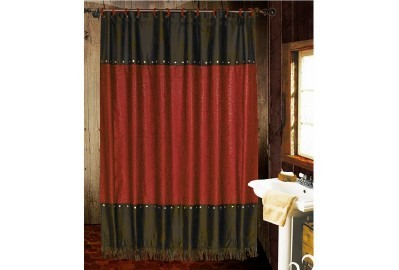 "Shower Curtain - ""Cheyenne"" Red"
