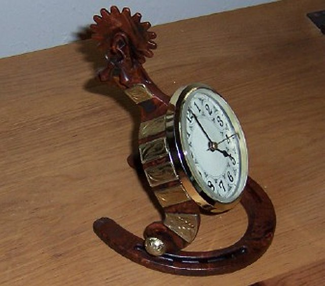 Texas Clock set into Horseshoe & Spur