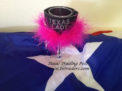 Texas Lady Wine Glass Coozie with Bling