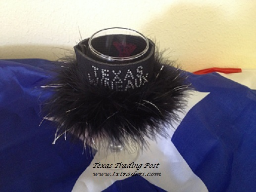 Texas Wineaux Wine Glass Coozie with Bling