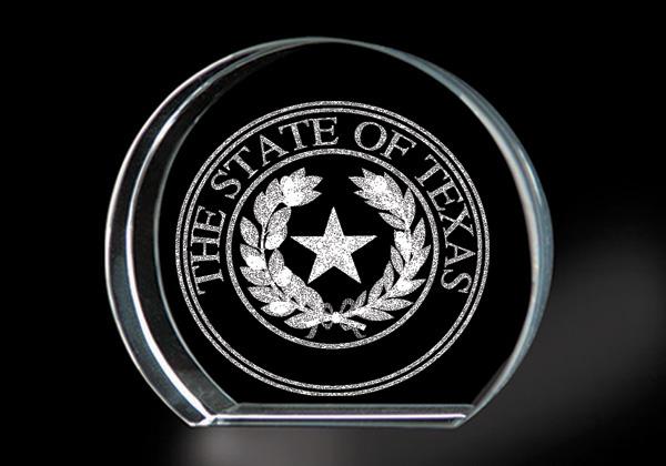Texas State Seal - Genuine Lead Crystal