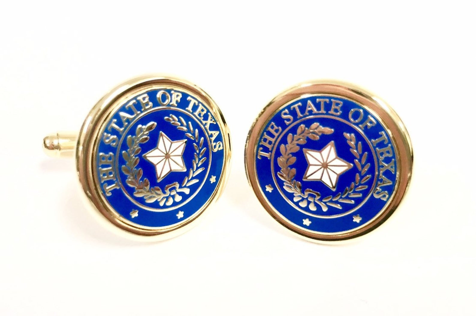 Cufflinks with the Texas State Seal - Blue & Gold