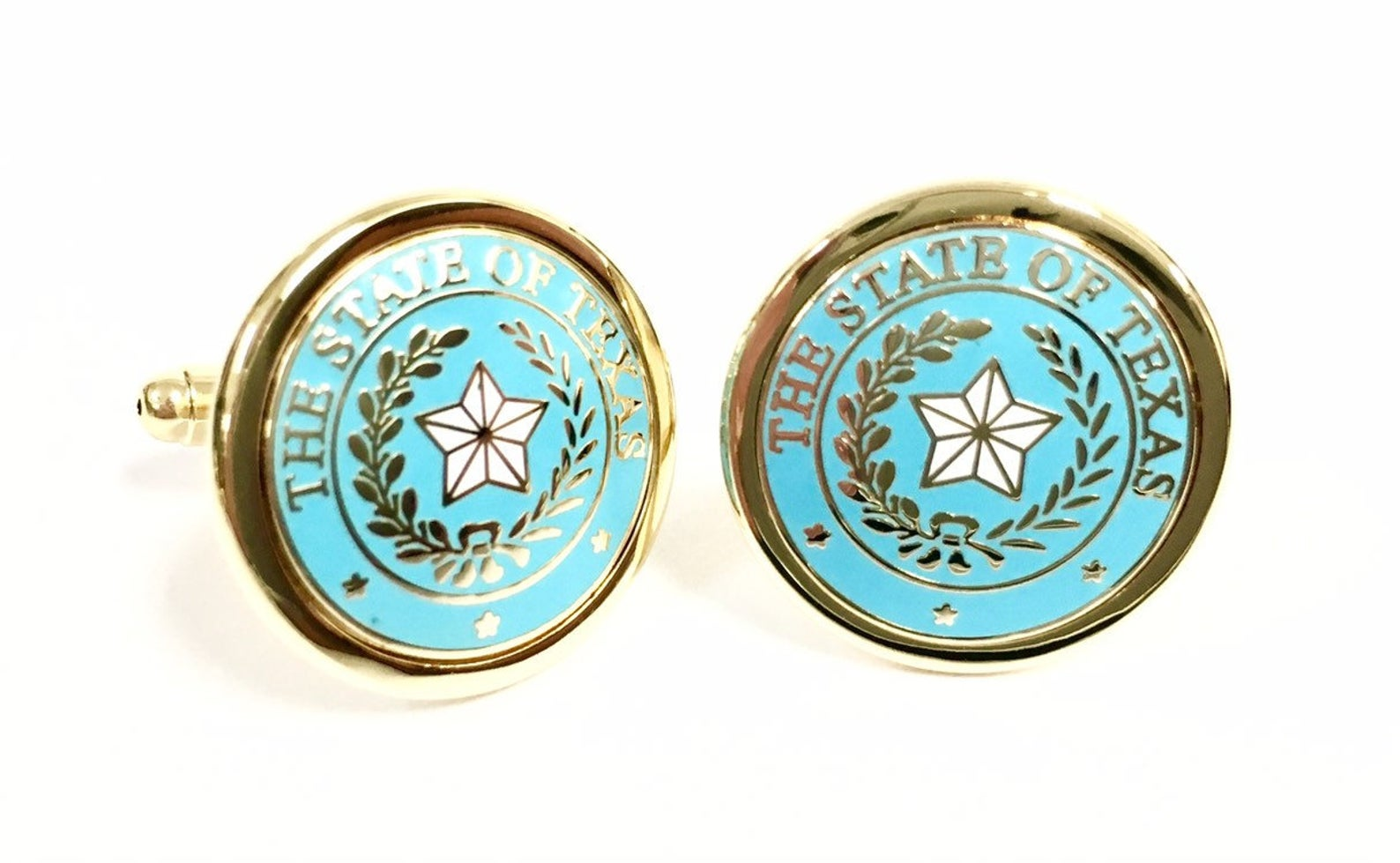 Cufflinks with the Texas State Seal - Light Blue & Gold