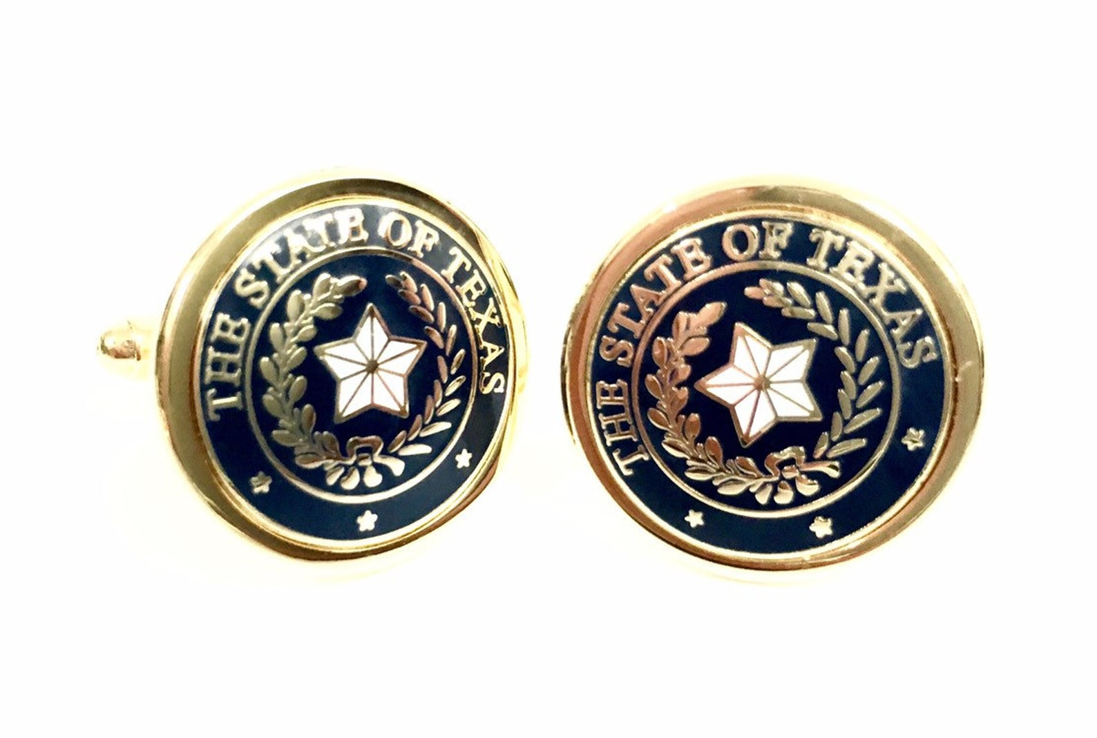 Cufflinks with the Texas State Seal - Navy & Gold