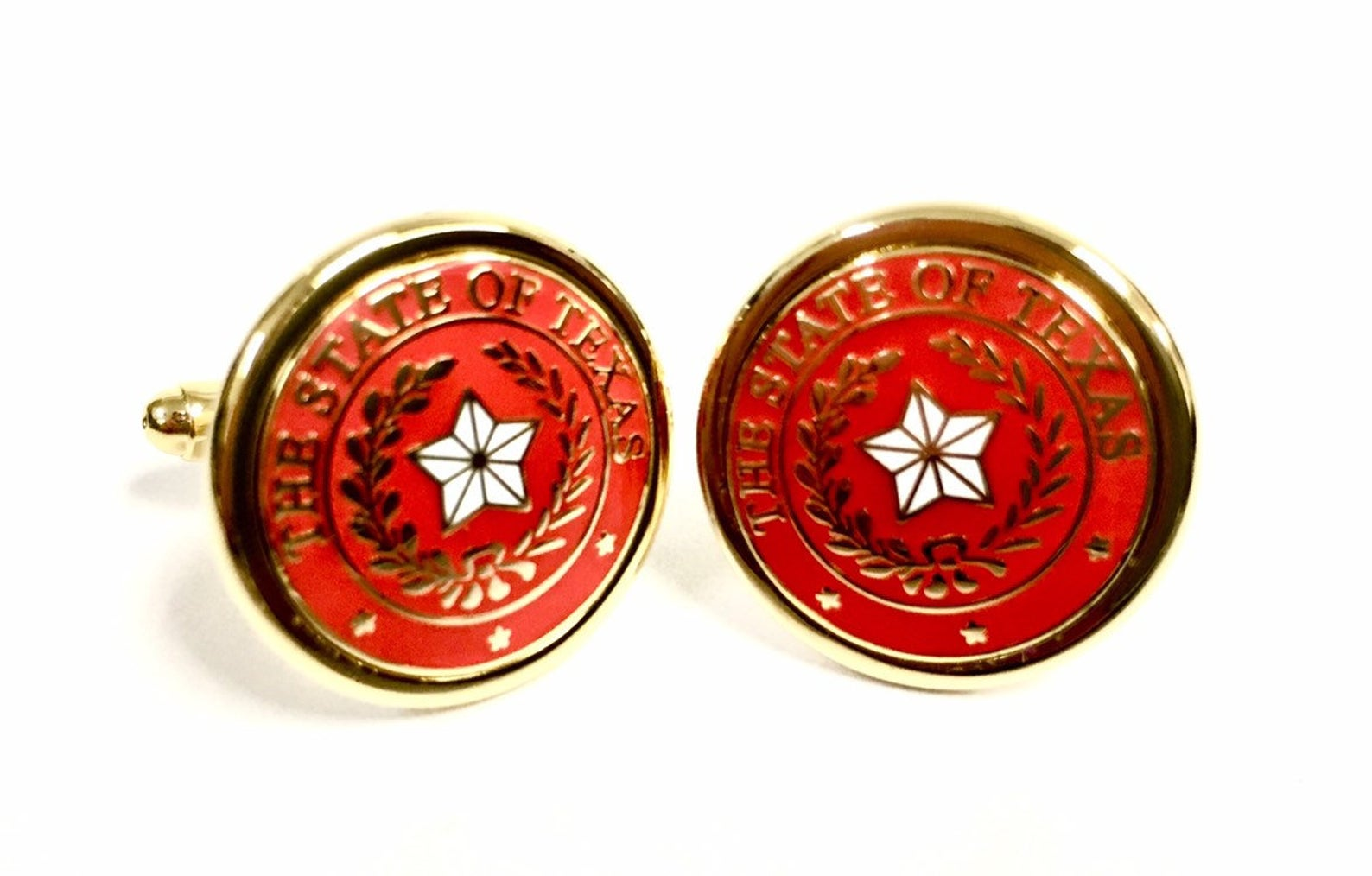 Cufflinks with the Texas State Seal - Red & Gold