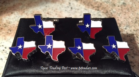 Texas Cufflinks and Tux Set - Texas Map with our Texas Flag