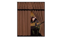 "Curtain Embroidered Western ""Barb Wire"""