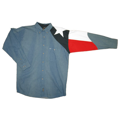 Men's Denim Shirt with the Texas Flag