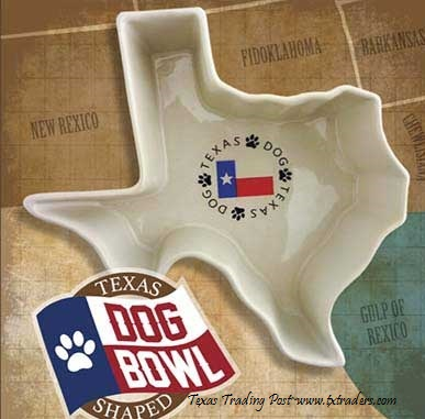 Texas Shaped Ceramic Dog Dish