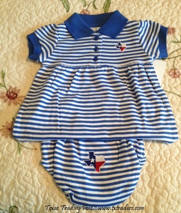 Baby Game Day Dress and Bloomers with Embroidered Map of Texas-BW