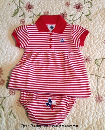 Baby Game Day Dress and Bloomers with Embroidered Map of Texas-RW