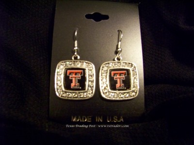 Tech - Blingy Earrings with Texas Tech Logo