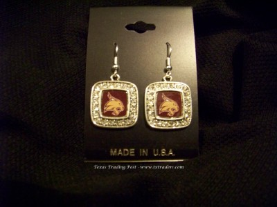 Bobcats - Blingy Earrings with Texas State Bobcats