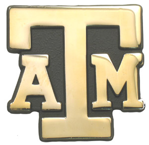 Car or Truck Auto Emblem - Texas A&M Logo in Gold