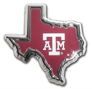 Car or Truck Auto Emblem - Texas A&M in the Shape of Texas