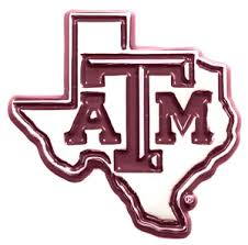Car or Truck Auto Emblem - Texas A&M Silver with Maroon Trim
